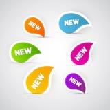 五颜六色的传染媒介新的标签,贴纸,标记 库存图片