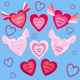 五颜六色的传染媒介贴纸心脏 库存图片