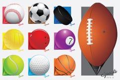 五颜六色的传染媒介体育球。地图尖。eps 8 免版税库存照片