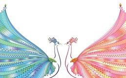 五颜六色的传染媒介例证两抽象,风格化孔雀,在彼此对面,与豪华尾巴 皇族释放例证
