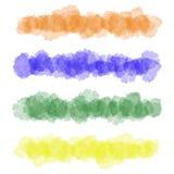 五颜六色的传染媒介水彩刷子冲程 库存例证