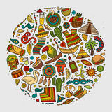 五颜六色的传染媒介手拉的乱画动画片套拉美 免版税库存图片