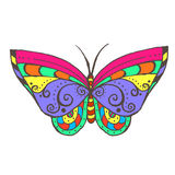 五颜六色的传染媒介蝴蝶绘与墨水 免版税库存照片