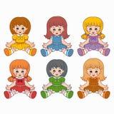 五颜六色的传染媒介设置与孩子的玩偶 免版税库存图片