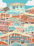 五颜六色的住房 免版税库存照片