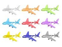 五颜六色的例证套商业飞机图标 库存例证
