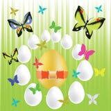 复活节彩蛋和蝴蝶 库存例证