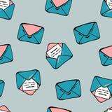 五颜六色的信封无缝的样式 它在卡片,包装,织品,邀请,墙纸可以打印或使用为 向量例证
