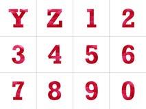 五颜六色的信件字母表有发光的异常的抽象几何背景 免版税图库摄影