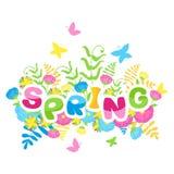 五颜六色的信件的春天题字 库存例证