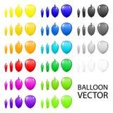 五颜六色的假日气球在白色背景设置了特写镜头被隔绝 在纸3d传染媒介的手绘画 库存例证