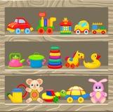 五颜六色的儿童的在木架子的玩具立场 库存图片