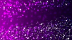 五颜六色的光、Bokeh和闪烁的闪闪发光在黑暗的Gradated紫色和紫罗兰色背景中 库存例证
