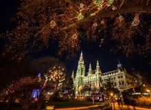 五颜六色的光阐明了夜与人群行动的圣诞节市场被弄脏在维也纳香港大会堂在Rathausplatz,奥地利 库存图片