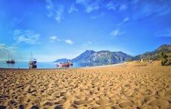 五颜六色的全景Olympos海滩 库存图片