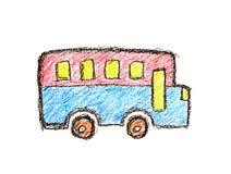 五颜六色的公共汽车纯稚蜡笔画 免版税库存照片