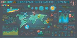 五颜六色的公司Infographic元素 库存照片