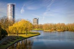 五颜六色的公园地区在热尔迈(波恩)在秋天 库存图片