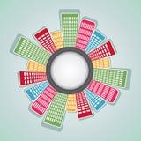 五颜六色的公寓的来回排列 免版税库存图片