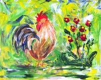 五颜六色的公鸡和花 免版税库存图片