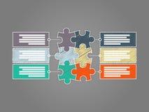 五颜六色的六块片断难题介绍infographic模板 免版税库存照片
