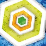 五颜六色的六角形文本抽象营销设计  免版税库存照片