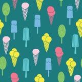 五颜六色的冰淇凌和星无缝的样式 免版税库存图片