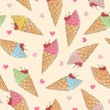 五颜六色的冰淇凌无缝的模式 免版税库存图片