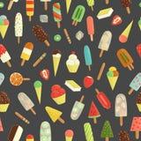 五颜六色的冰淇凌的传染媒介无缝的样式 库存例证