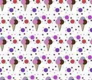 五颜六色的冰淇凌,小点和棒棒糖 免版税图库摄影