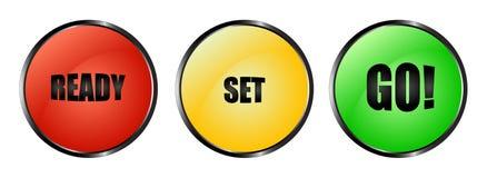 五颜六色的准备好的集去按钮 免版税库存图片