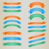 五颜六色的减速火箭的丝带的汇集 免版税库存照片