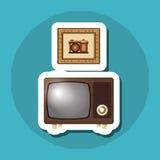 五颜六色的减速火箭的电视设计,传染媒介例证 免版税库存照片