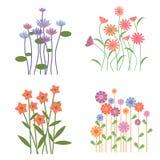 五颜六色的减速火箭的花收藏 免版税图库摄影