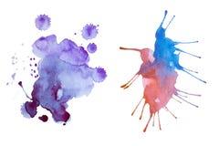 五颜六色的减速火箭的葡萄酒摘要水彩/水彩画艺术手油漆在白色背景 库存图片