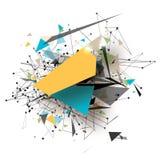 五颜六色的几何多角形艺术元素 与多角形三角,回合,线的抽象爆炸 将来的技术 库存照片