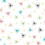 五颜六色的几何无缝的模式 重复的三角和圆的小点 用手画 图库摄影