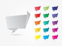 五颜六色的几何讲话泡影 库存照片