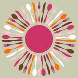 五颜六色的刀叉餐具坛场餐馆 皇族释放例证