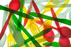 五颜六色的刀叉餐具塑料 免版税库存照片