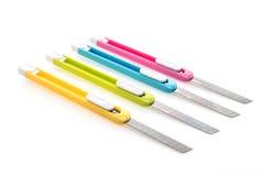 五颜六色的刀子切削刀 库存照片