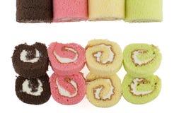 五颜六色的切片卷蛋糕顶视图  图库摄影