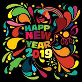 五颜六色的创造性的新年快乐2019愿望与飞溅和花卉设计元素 皇族释放例证