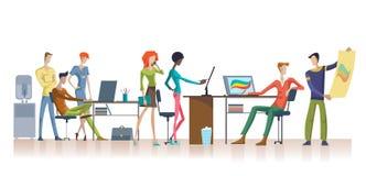 五颜六色的办公室配合模板 向量例证
