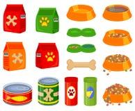 16五颜六色的动画片宠物食品元素集 向量例证