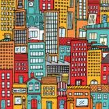 五颜六色的动画片城市纹理背景 免版税库存图片