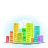 五颜六色的动画片城市 库存照片