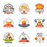 五颜六色的动画片快餐标签商标隔绝了餐馆鲜美美国乳酪汉堡徽章mea膳食传染媒介例证 皇族释放例证