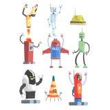 五颜六色的动画片机器人的另外设计公共业务机器人收藏 向量例证