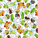 五颜六色的动画片滑稽的昆虫无缝的样式 免版税图库摄影